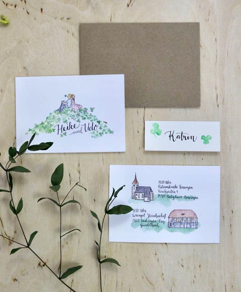 Portrait Einladungskarte Wegbeschreibung illustration