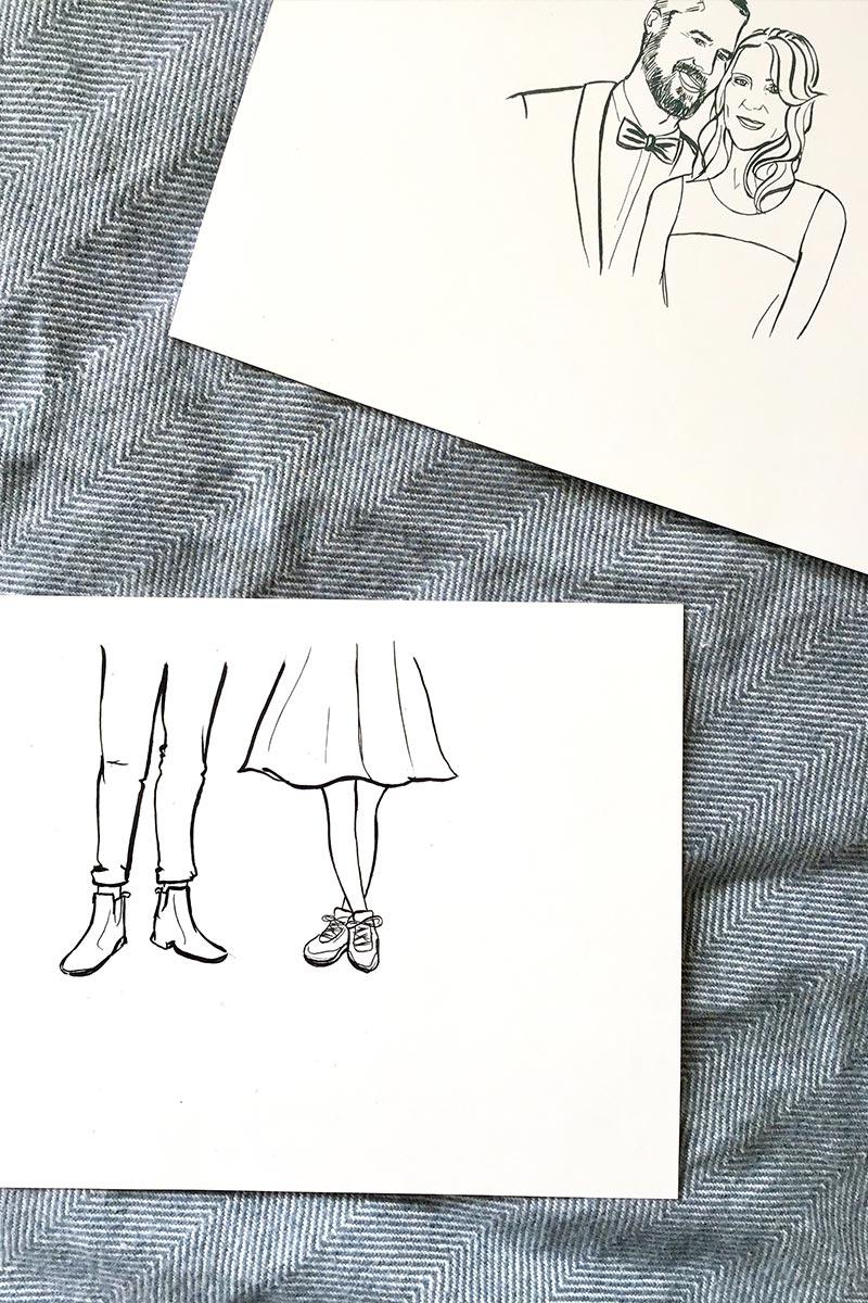 individuelles Portrait für Hochzeitseinladung