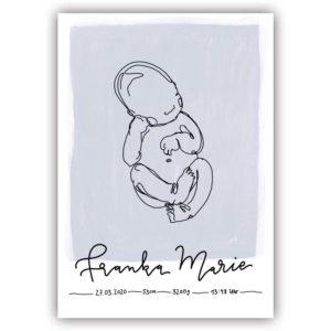 individuelles linedrawing babyposter mit handlettering Name und Geburtsdaten blau