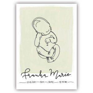 individuelles linedrawing babyposter mit handlettering Name und Geburtsdaten grün