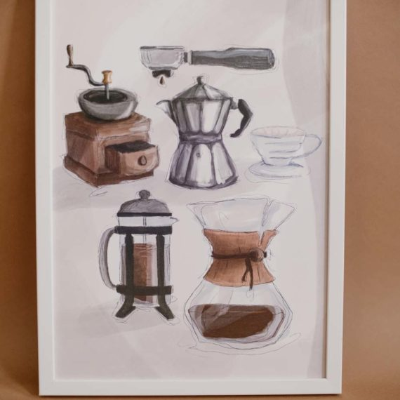 Illustration Poster Chemex Siebträger Kaffeemühle French Press