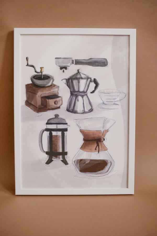 Illustration Poster Chemex Siebträger Kaffeemühle French Press