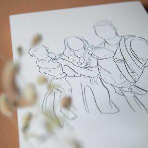 Familienportrait Linart Illustration
